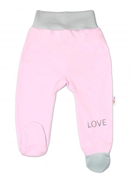 Baby Nellys Dojčenské polodupačky, ružové - Love, veľ. 56