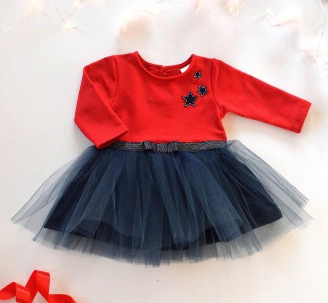 Detské Tutu šaty K-Baby, Hviezdičky - červená/tm. modrá, veľ. 92