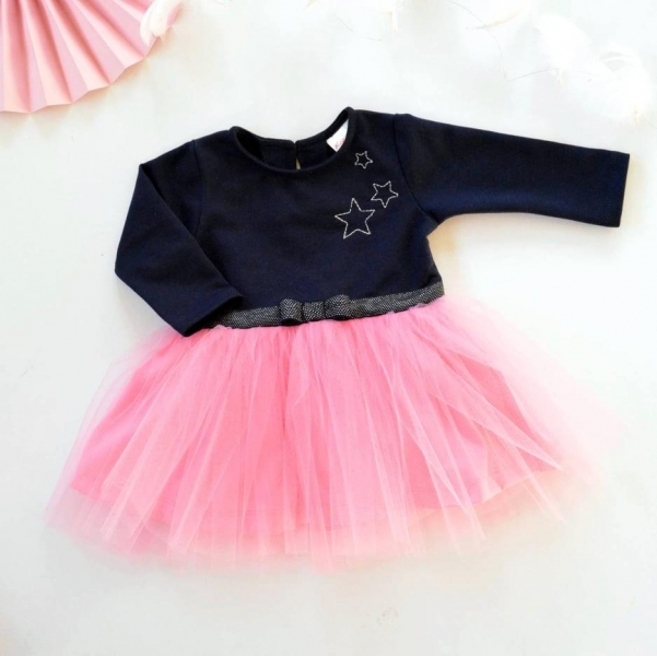 Dojčenské Tutu šaty K-Baby, Hviezdičky - tm. modrá/ružová, veľ. 80