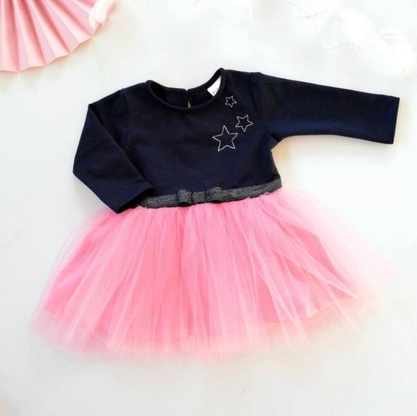 Dojčenské Tutu šaty K-Baby, Hviezdičky - tm. modrá/ružová, veľ. 86