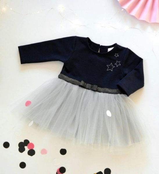 Dojčenské Tutu šaty K-Baby, Hviezdičky - tm. modrá/sivá, veľ. 92