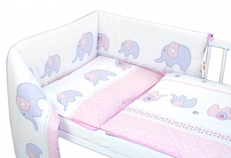 Baby Nellys 3-dielna sada - mantinel s obliečkami Slony - ružové, 135x100 cm