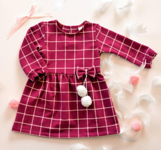 K-Baby Dojčenské šatôčky s bambulkama - fuchsiové, veľ. 68