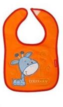 BOBO BABY Trojvrstvový bavlnený podbradník Žirafka - oranžový