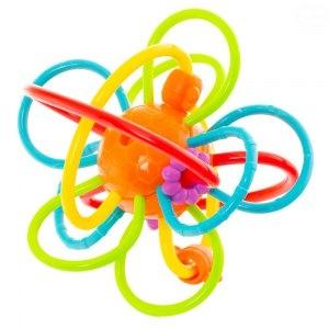 Euro Baby Edukačná hračka - hrkálka - prepletená loptička - oranžová