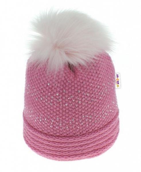 BABY NELLYS Zimná čiapka s kamienkami a chlupáčkovou bambulou - ružová