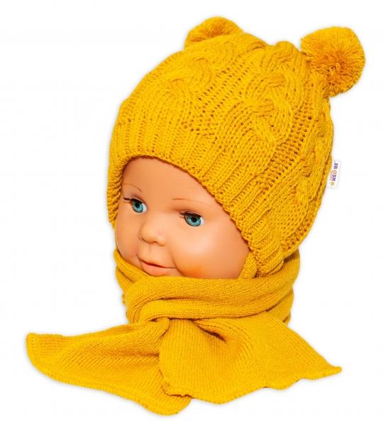 BABY NELLYS Zimná pletená čiapočka s šálom Mimi Bear - horčicová s brmbolcami