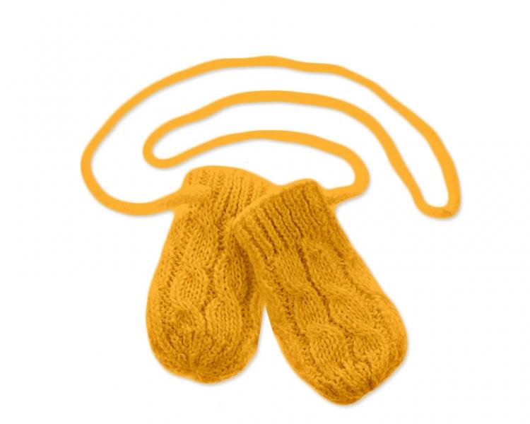 BABY NELLYS Zimné pletené dojčenské rukavičky so vzorom - horčicové