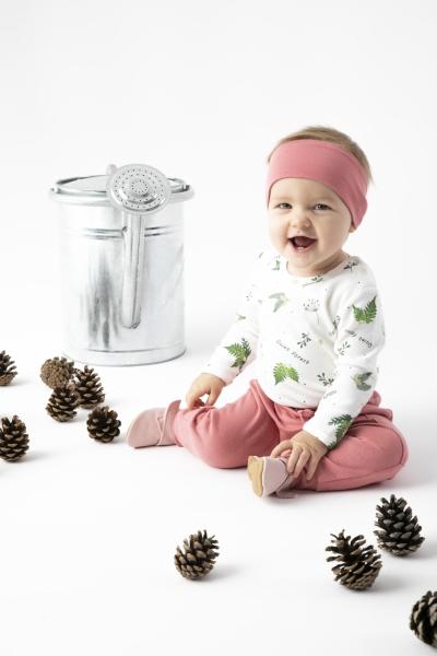 Dojčenské bavlnené tepláky Nicol, Forest - ružové, veľ. 86