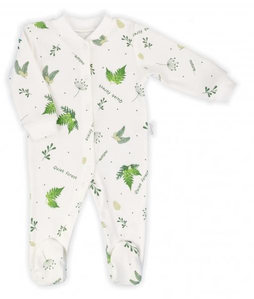 Dojčenský overal Nicol, Forest - biely s potlačou, veľ. 68
