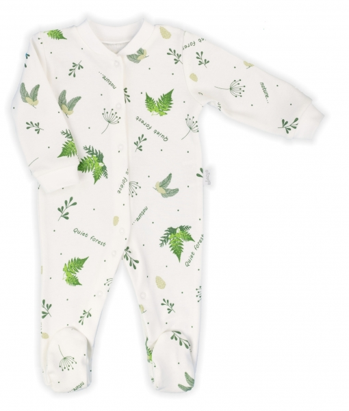 Dojčenský overal Nicol, Forest - biely s potlačou, veľ. 74