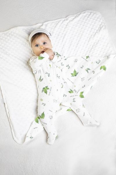 Dojčenský overal Nicol, Forest - biely s potlačou, veľ. 86