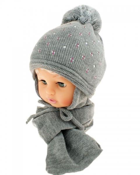 BABY NELLYS Zimná čiapka s brmbolcom a šálom - sivá s kamienkami
