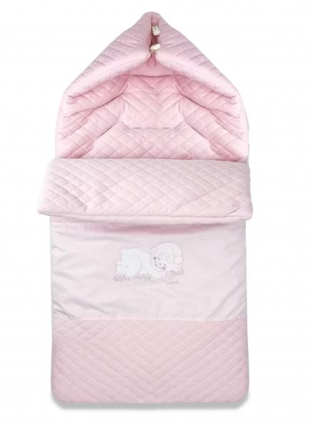 Bavlnený fusak Baby Nellys, velvet s výšivkou, 45 x 95 cm - ružový