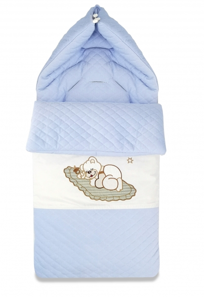 Bavlnený fusak Baby Nellys, velvet s výšivkou, 45 x 95 cm - modrý
