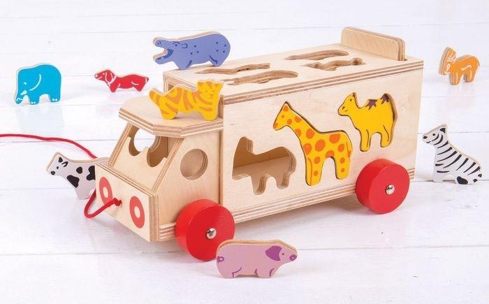 Bigjigs Edukačný vkladačka Nákladné auto so zvieratkami