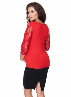 Tehotenské a dojčiace tričko, dl. rukáv - čipkované, červené
