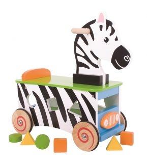 BIGJIGS Edukačné drevené odrážadlo - Zebra