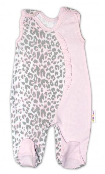 Baby Nellys Dojčenské bavlnené dupačky Gepardík - ružovo / sivé, veľ. 74