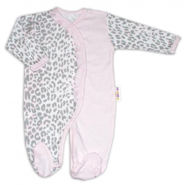 Baby Nellys Bavlnený overal Gepardík - sivo/ružový, veľ. 74