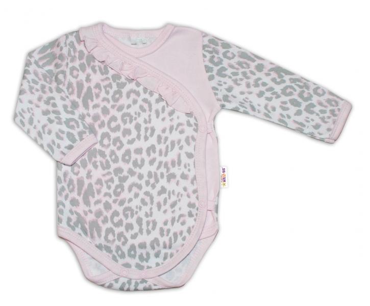 Baby Nellys Body dl. rukáv zap. bokom Gepardík - šedo / ružový, veľ. 56