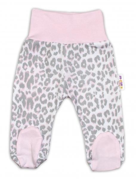 Bavlnené dojčenské polodupačky Baby Nellys ® - Gepardík - ružovo/sivé, veľ. 74