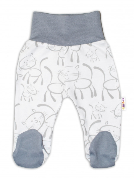 Bavlnené dojčenské polodupačky Baby Nellys ® - Macičky - sivo/biele, veľ. 50