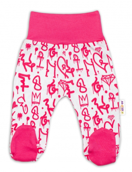 Bavlnené dojčenské polodupačky Baby Nellys ® - Princezna korunka - malinovo/biele, veľ. 56
