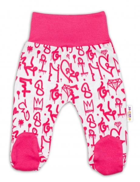 Bavlnené dojčenské polodupačky Baby Nellys ® - Princezna korunka - malinovo/biele, veľ. 74