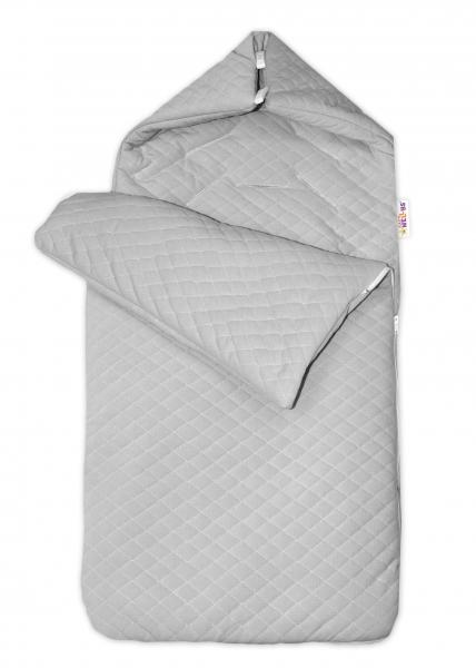 Bavlnený fusak Baby Nellys, velvet prešívaný, 45 x 95 cm - sivý