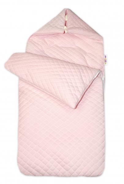 Bavlnený fusak Baby Nellys, velvet prešívaný, 45 x 95 cm - růžový