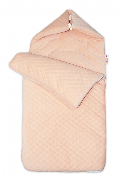 Bavlnený fusak Baby Nellys, velvet prešívaný, 45 x 95 cm - marhułový