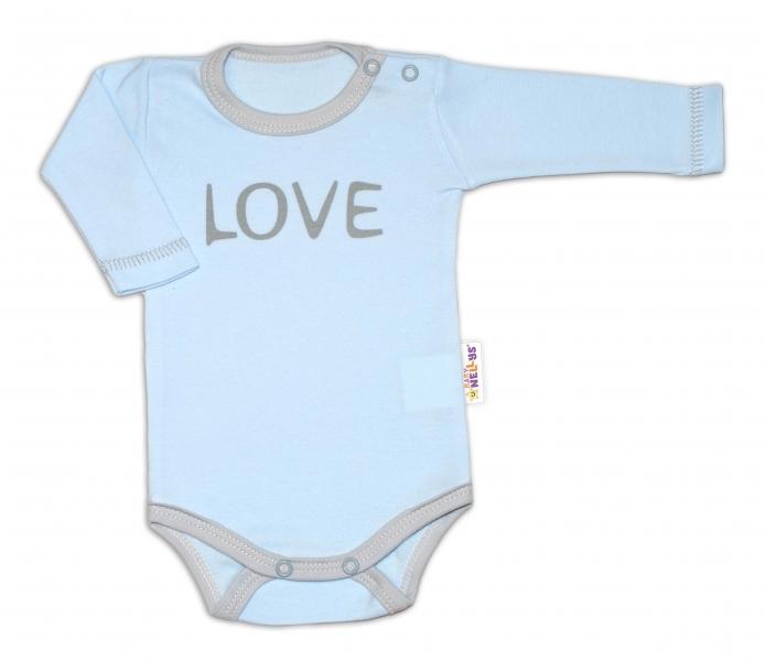 Baby Nellys Body dlhý rukáv Love - modrý-50 (0-1m)