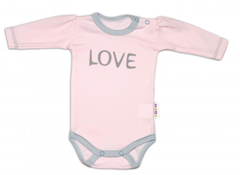 Kojenecké  Body dlhý rukáv Love - ružové, veľ 50
