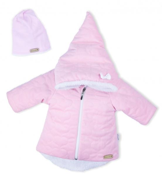 Luxusná prešívaná bundička, kabátik s čiapočkou Nicol Velvet Škriatok - ružová Vel. 56