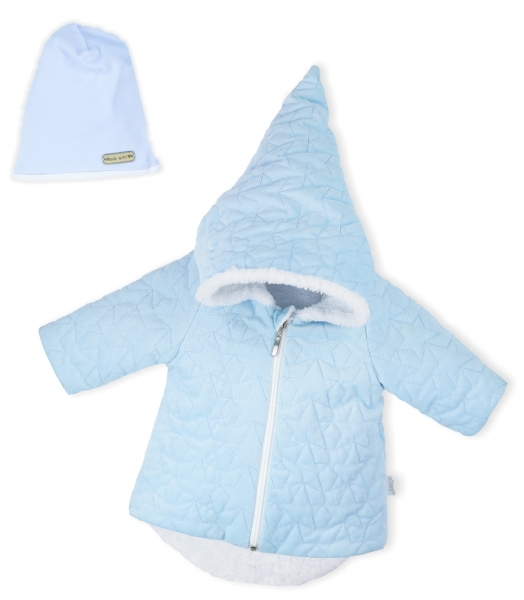 Luxusná prešívaná bundička, kabátik s čiapočkou Nicol Velvet Škriatok - sv. modrá, veľ. 80