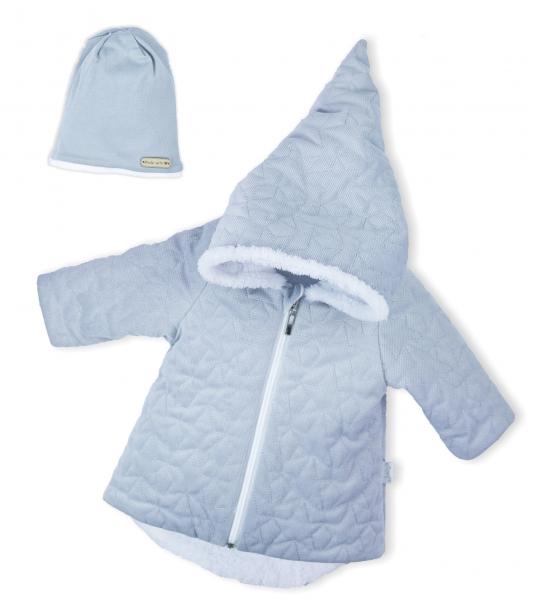 Luxusná prešívaná bundička, kabátik s čiapočkou Nicol Velvet Škriatok - sivá Vel. 56