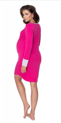 Tehotenská, dojčiaca nočná košeľa s výrazným lemovaním, dl. rukáv - amarant veľ S/M