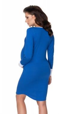 Tehotenská, dojčiaca nočná košeľa s výrazným lemovaním, dl. rukáv - modrá