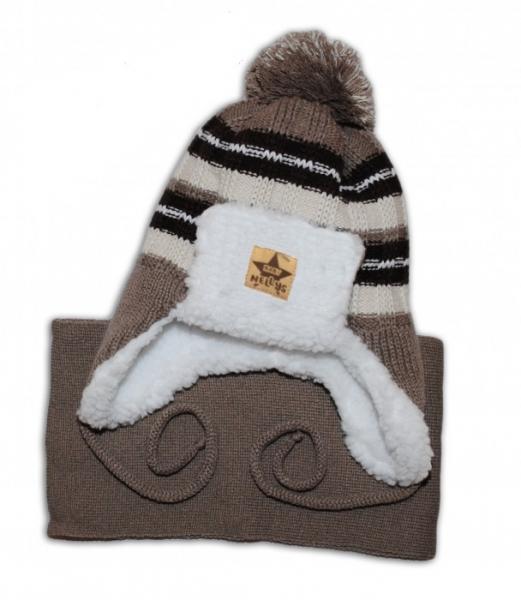 BABY NELLYS Zimná čiapočka s kožušinkou a šálom - béžová