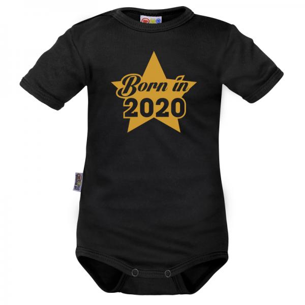DEJNA Body krátký rukáv Born in 2020 - čierne, veľ. 74