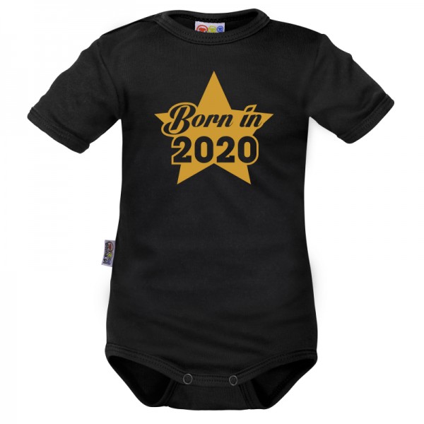 DEJNA Body krátký rukáv Born in 2020 - čierne, veľ. 80