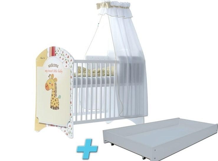 BabyBoo Detská postieľka LUX s motivom Sweet giraffe + šuplík, 120x60 cm