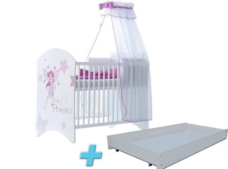 BabyBoo Detská postieľka LUX s motivom Little princess. + šuplík, 120 x 60 cm