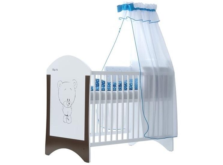 Babyboo Detská postieľka LUX s motivom hnedý macko, 120x60 cm