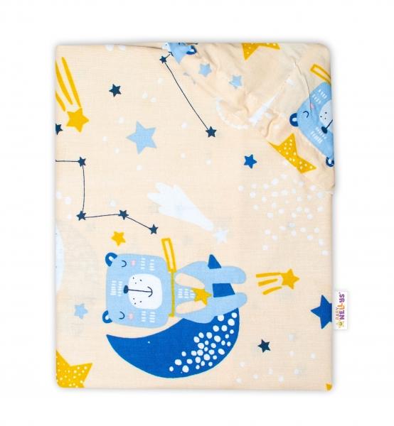 Baby Nellys Bavlnené prestieradlo - Medvedík a hviezdy, bežové, 120x60 cm