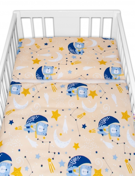 Baby Nellys Bavlnené obliečky - Medvedík a hviezdy, 120x90 cm