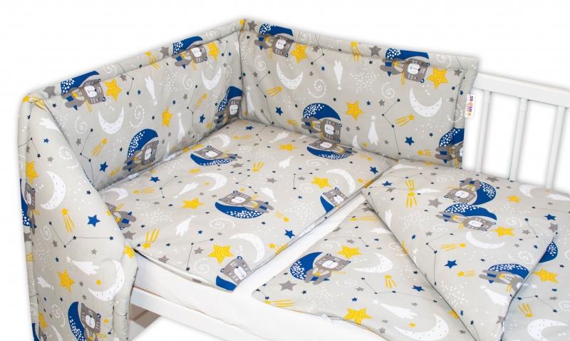 Baby Nellys Mantinel s obliečkami - Medvedík a hviezdy, sivá, 135 x 100