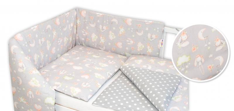 Baby Nellys 3-dielna sada - mantinel s obliečkami Zajačik - sivá, 120x90 cm