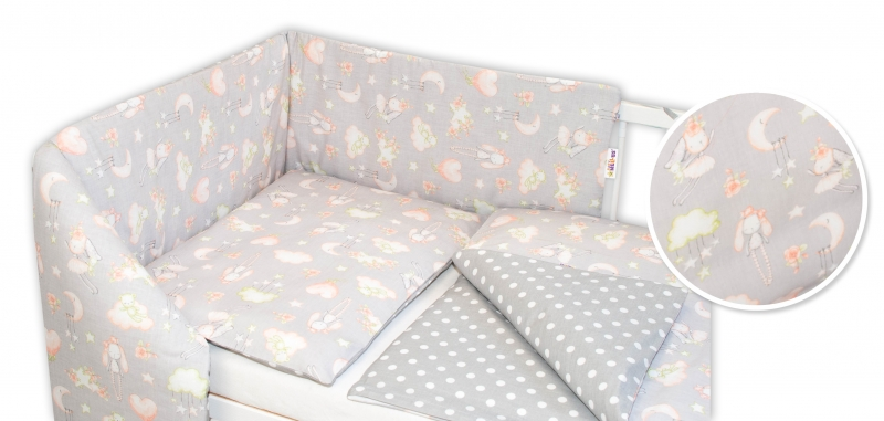Baby Nellys 3-dielna sada - mantinel s obliečkami Zajačik - sivá, 135x100 cm